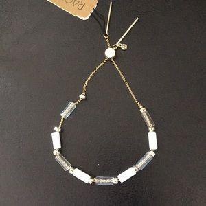 Rachel Roy Adjustable white & Clear beaded Bracele